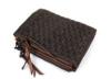 丁寧に編み込んだオイルドカウレザーメッシュ折財布(牛革)