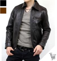 ゴートスキンライダースジャケット(山羊革)襟付き革ジャン