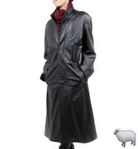 レザーロングコートスタンド襟120cm(羊革)