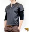 レザーシャツ半袖 (牛革)Tシャツ