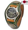 味のある表情のハンドスタンプ3コンチョ革腕時計(牛革)