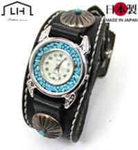 手縫いバックル革腕時計ターコイズ(牛革)本格シルバー