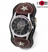 コントラストが映える革腕時計スタースタッズ(牛革)