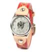 細身のハンドスタンプバックル革腕時計(牛革)レディース