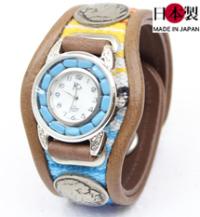 個性的でお洒落な3コンチョ革腕時計ターコイズムーブメント(牛革)